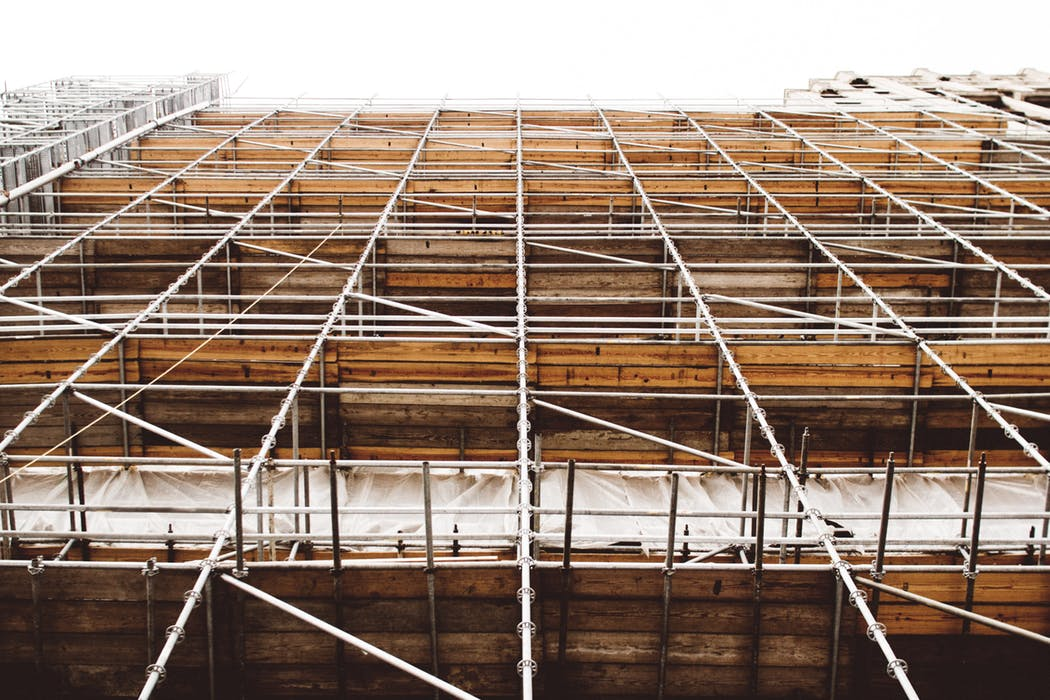 Close up view of a scaffolding